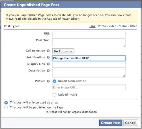 Conversión Facebook cambio encabezado