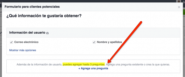 Cuestionario Facebook Lead Ads