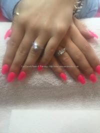 Dev Guy - Acrylic Coffin Shaped Nails With Neon Pink Gel ...