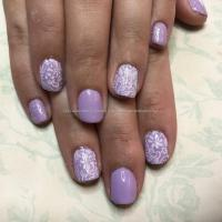 Dev Guy - Lilac Gel Polish On Natural Nails With Lace Nail ...