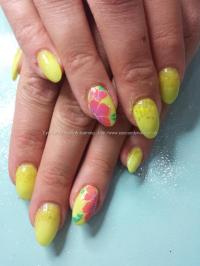 Social Build - Neon Yellow Acrylic With Yellow Glitter And ...