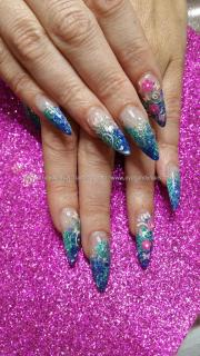 social build - blue and green glitter