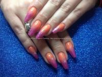 Dev Guy - Acrylic Nails With Orange And Pink Coloured ...
