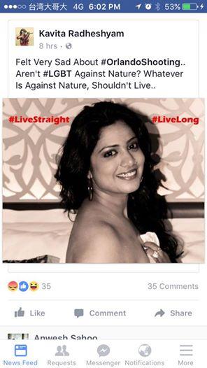 Kavita Radheshyam Slams LGBT Community Over Florida Tragedy!