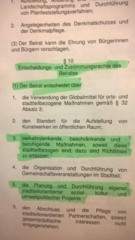 Ausschnitt aus §10 OBG: Alleinige Entscheidungsrechte des Beirates