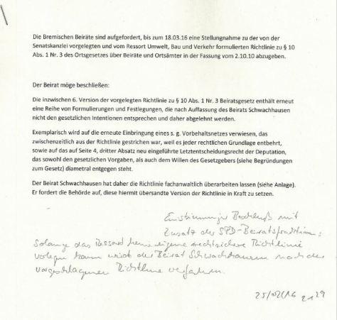 Beschluss Beirat Schwachhausen Verkehrsrichtlinie 250216