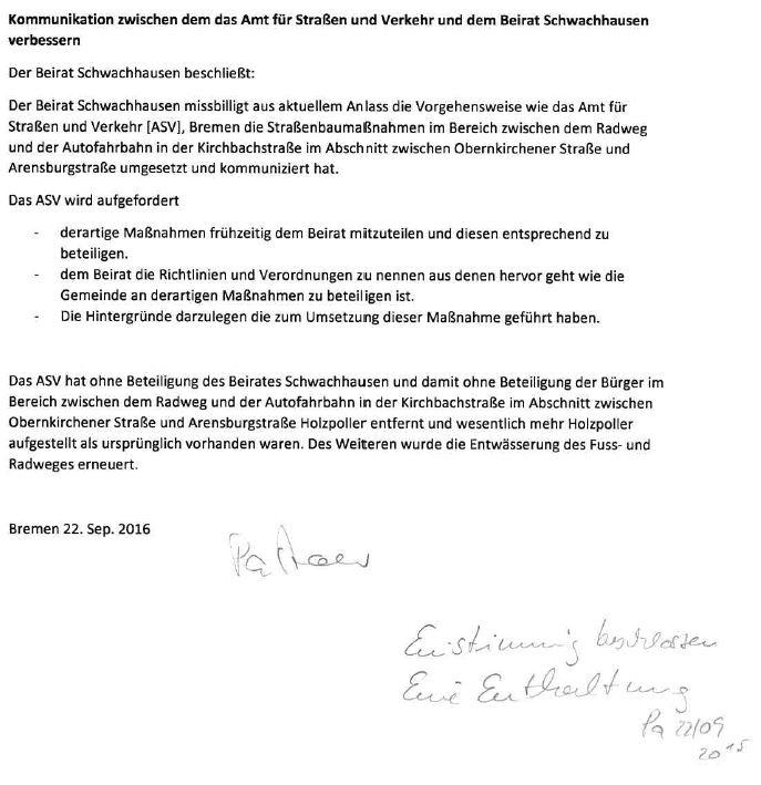 Beschluss des Beirats Schwachhausen zum nicht angemeldeten Aufstellen von Pollern