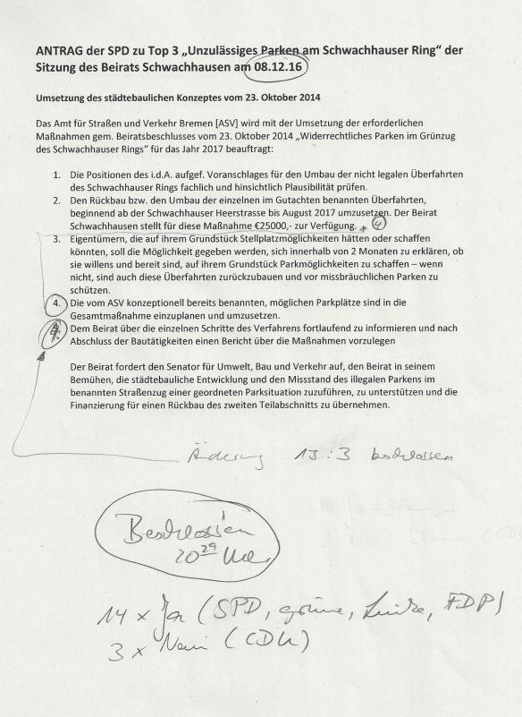 Beschluss vom 08. Dezember 2016, Beirat Schwachhausen