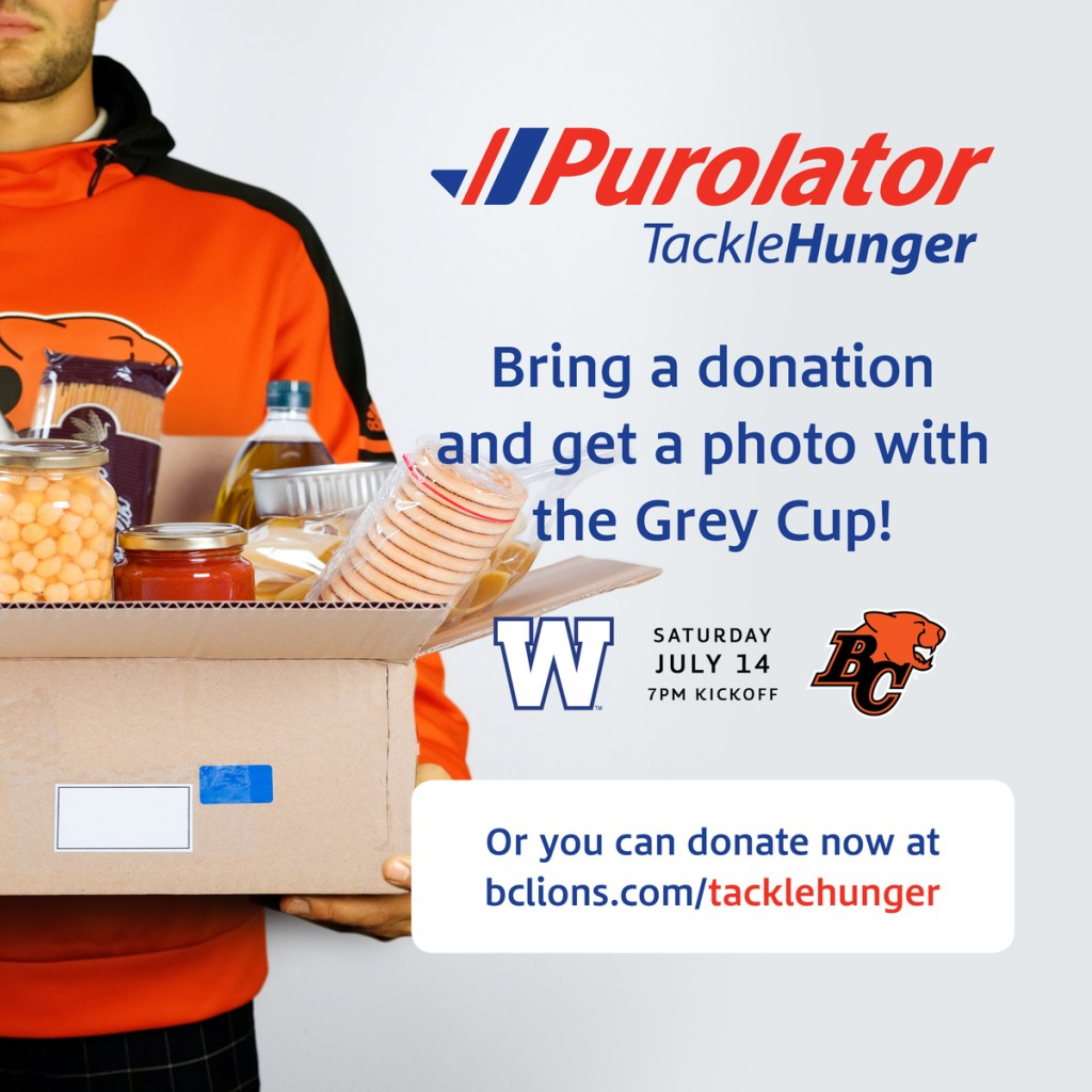 BC Lions, charity, foodraiser, donate, puralator, purolator, give money to a good cause, support the foodback, bc lions, bc lions pride, dad blog, parenting blog, socialdad, bloggers in vancouver, dad bloggers in vancouver, male bloggers in vancouver, top canadian bloggers,