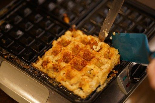 mac n cheese waffles, catelli