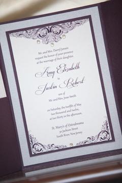 Purple Wedding Invitation With Rhinestones