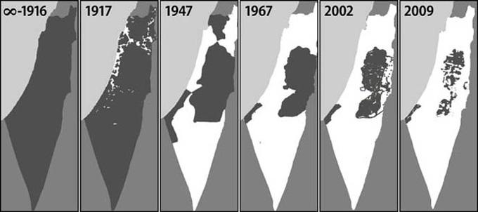 """Mapa de la """"limpieza étnica"""" del pueblo palestino. En gris oscuro, el territorio palestino. En blanco, los territorios ocupados por los colonizadores sionistas."""