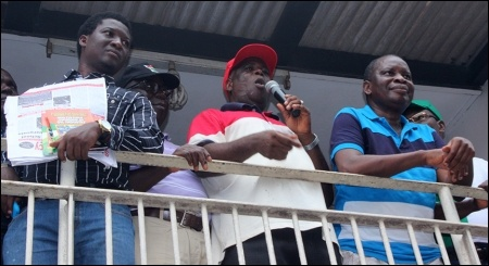 Waheed Olojede (Chair NLC Oyo State) addressing striking workers