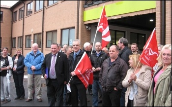 Unite members and others supporting Kevin Bennett outside his Labour group appeal hearing on 1st July 2013