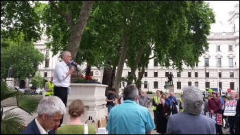 Jeremy Corbyn speaking at a FE cuts lobby of parliament, June 2015, photo Rob Williams