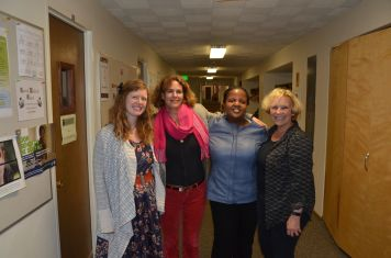 From L to R: Maura Cotter, Director of 'Elm Kids,' Rhenda Meiser, Director of Public Relations, Thuli Makama, lawyer from Swaziland, and Anne Paxton, Festival Director.