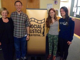 Festival Director Anne Paxton, with representatives from Books to Prisoners and Yoga Behind Bars.