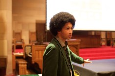 Youth climate activist Aji Piper at The #Resistance Night. (Photo by Alexis Wood) — at University Christian Church Seattle.