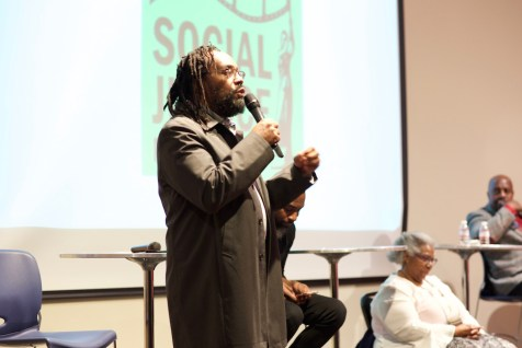 Moderator Tony Benton, radio manager and host of RainierAvenueRadio.com. (Photo by Alexis Wood)