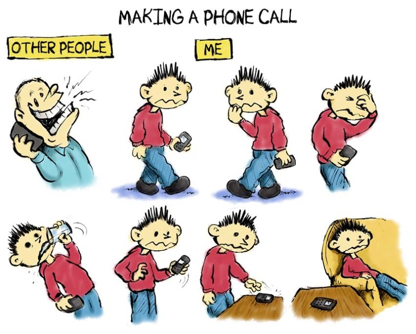 phone anxiety cartoon