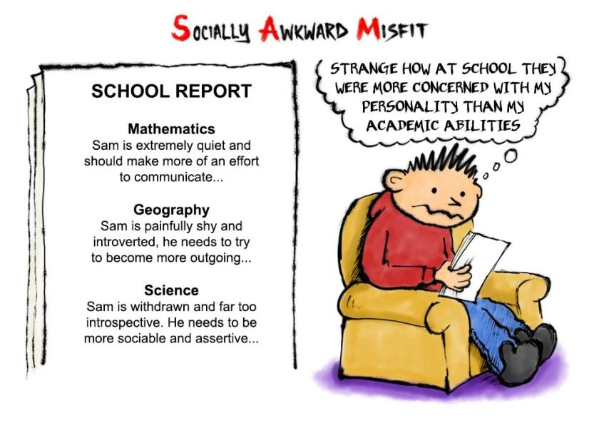 school report shy quiet