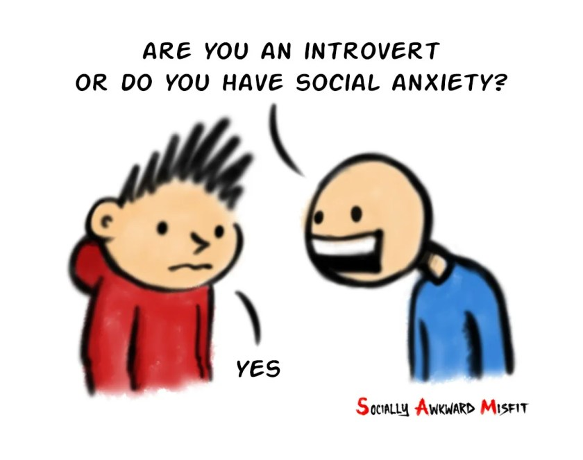 difference between an introvert and social anxiety