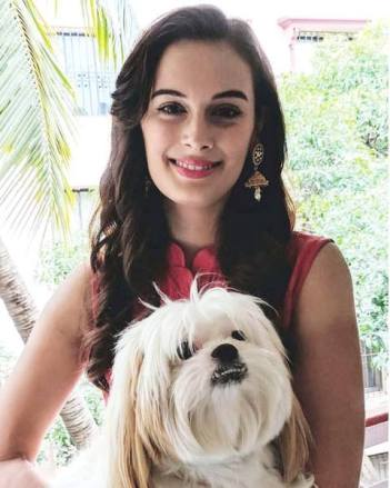 Evelyn Sharma with her pet dog