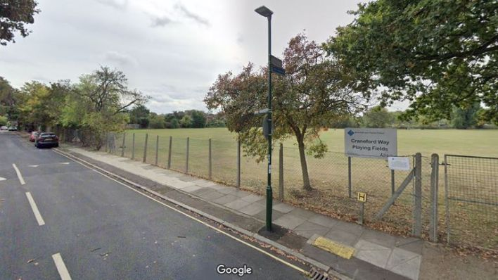 The London Ambulance Service was called to the fields but the victim later died. Pic: Google