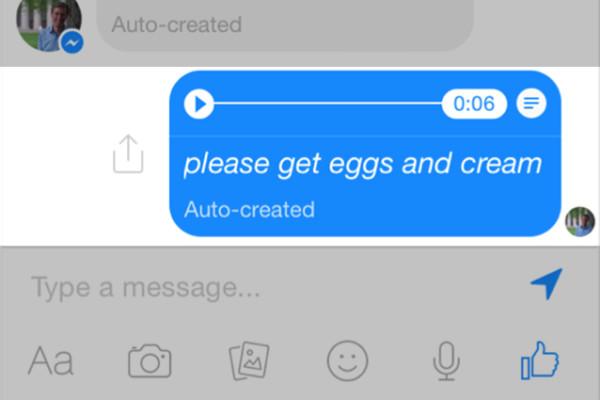Facebook prova la trascrizione dei messaggi vocali