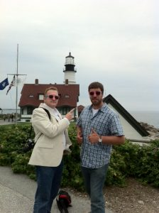 Bob Collins and Adam O'Brien at Portland Head Light