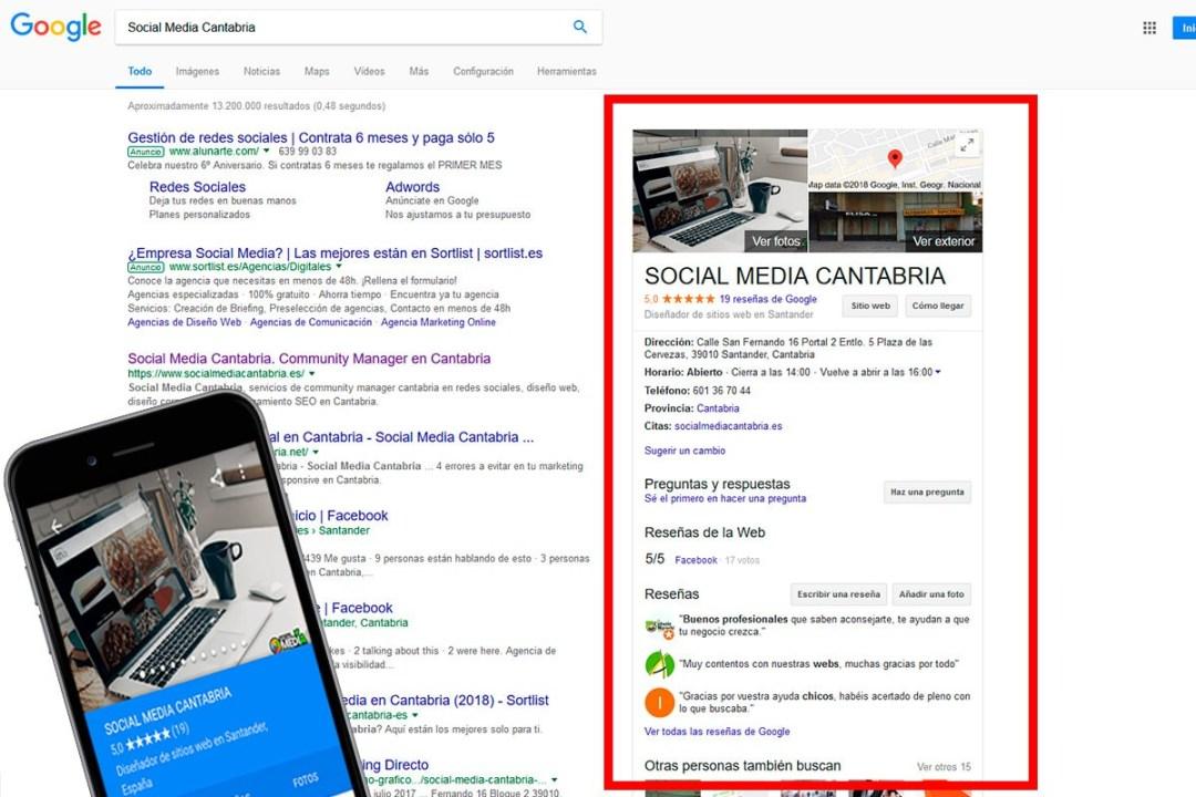 Posicionamiento SEO Local - Social Media Cantabria