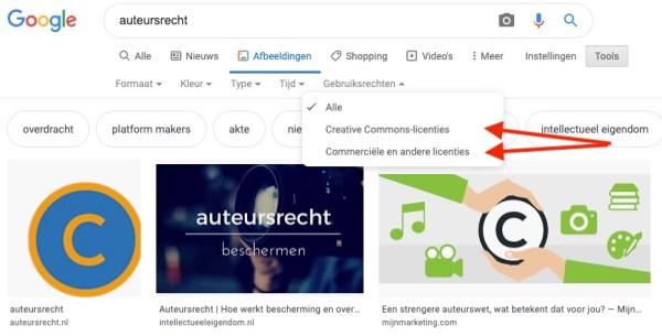 Submenu Gebruiksrechten in Google AfbeeldingenFilter Gebruiksrechten in Google Afbeeldingen