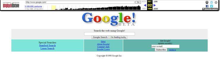 Zo zag Google er in 1998 uit