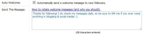 Social Oomph Direct Message Setup Step 2