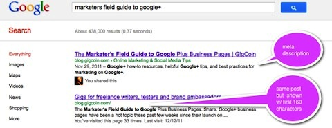 example of how a post's description appears in Google search results