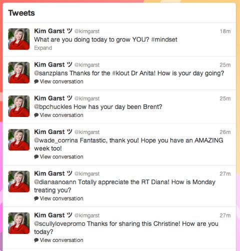 Kim Garst engagieren sich auf Twitter