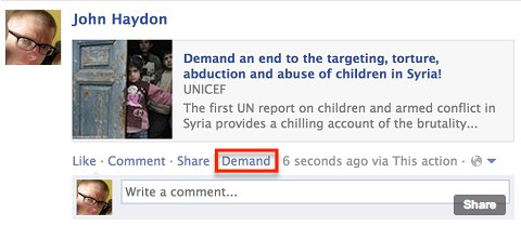 john haydon facebook demand
