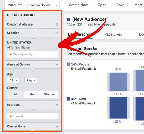 Optionen für das Facebook-Publikum