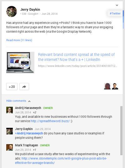 hilfreicher Google Plus Kommentar