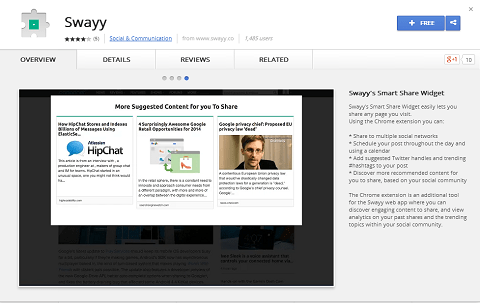 Swayy also has a Google Chrome extension to make it easy to share content discoveries.