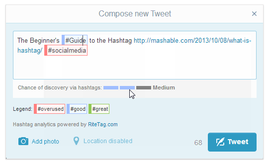 RiteTag finds better hashtags to get your tweets found and shared.