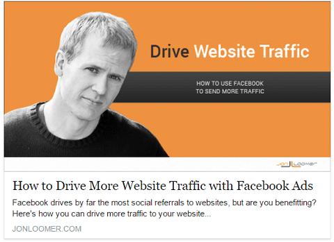 Jon Loomer veröffentlicht Facebook-Anzeigen, nachdem er Beiträge organisch geteilt hat, um die meisten Besucher auf seine Website zu locken.