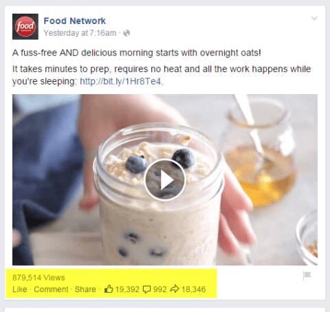 Food Network Videopost auf Facebook