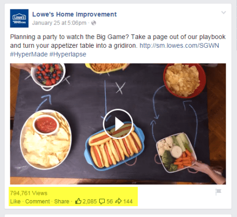 Lowes Heimwerker Video Post auf Facebook