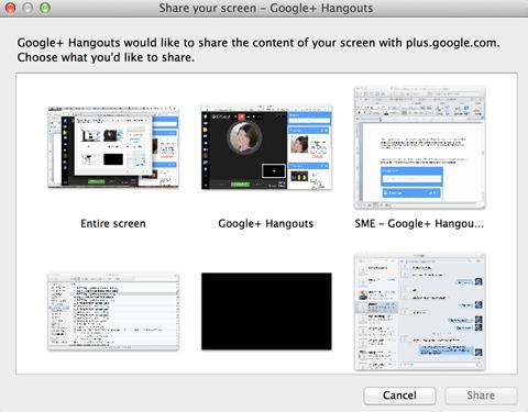 Optionen für die Bildschirmfreigabe von Google + Hangouts