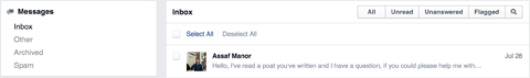 facebook messages menu