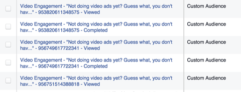 facebook video ad engagement lists