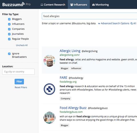Buzzsumo Influencer Suche