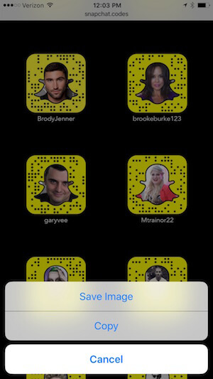 save snapcodes to your phone
