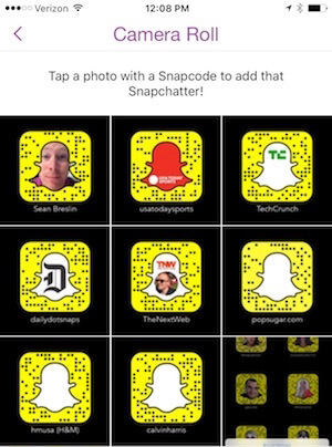 browse snapcodes saved to your phone